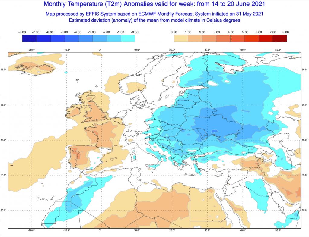 Pogoda. Anomalia tygodniowa do 20 czerwca 2021.