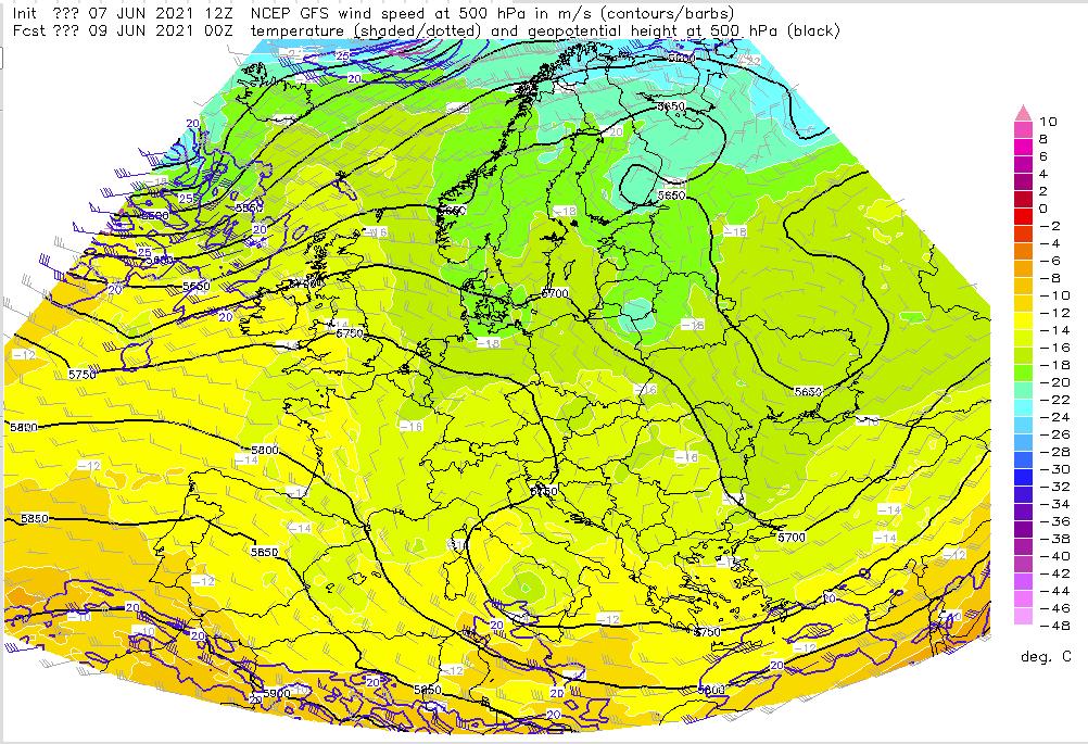 Pogoda. Pole ciśnienia, geopotencjału, temperatura 500 hPa i prędkość oraz kierunek wiatru