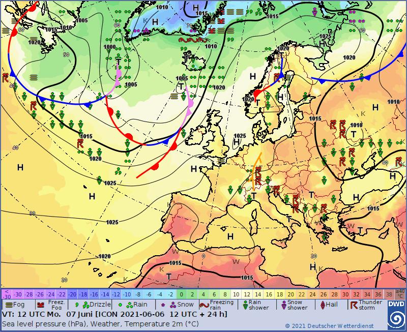 Pogoda w Europie. Mapy baryczne