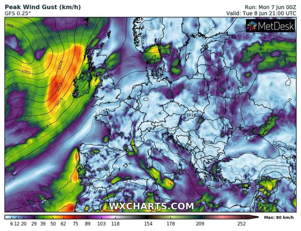 Pogoda w Europie. Wiatr na zachodzie