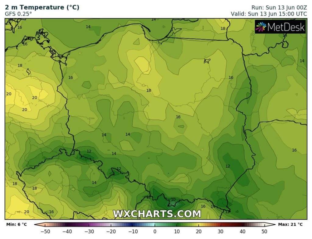 Pogoda na dziś. Temperatury w Polsce 13 czerwca