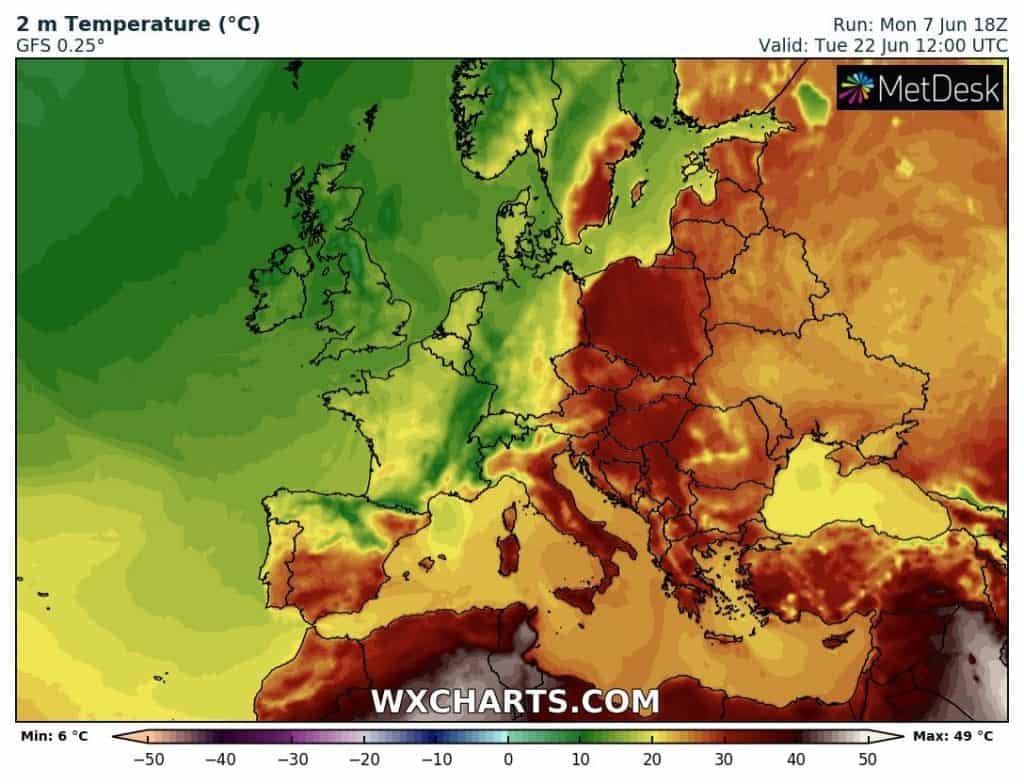 Silny upał po 15 czerwca w Europie