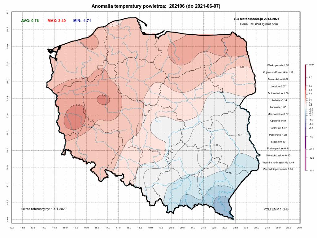Pogoda. Anomalia temperatury do 7 czerwca 2021.