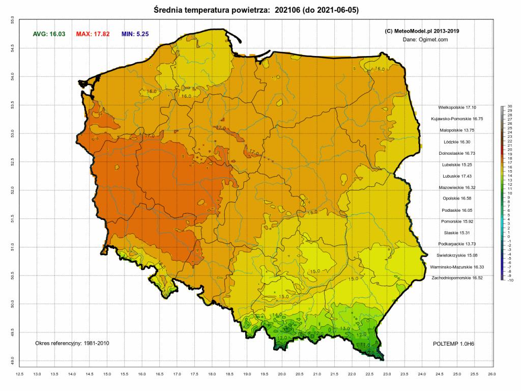 Pogoda. Średnia temperatura powietrza za okres od 1.06.2021 do 5.06.2021.