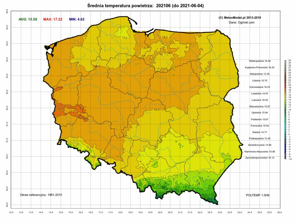 Pogoda. Średnia temperatura powietrza do 4 czerwca 2021.