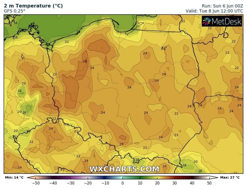 Temperatura we wtorek 8 czerwca