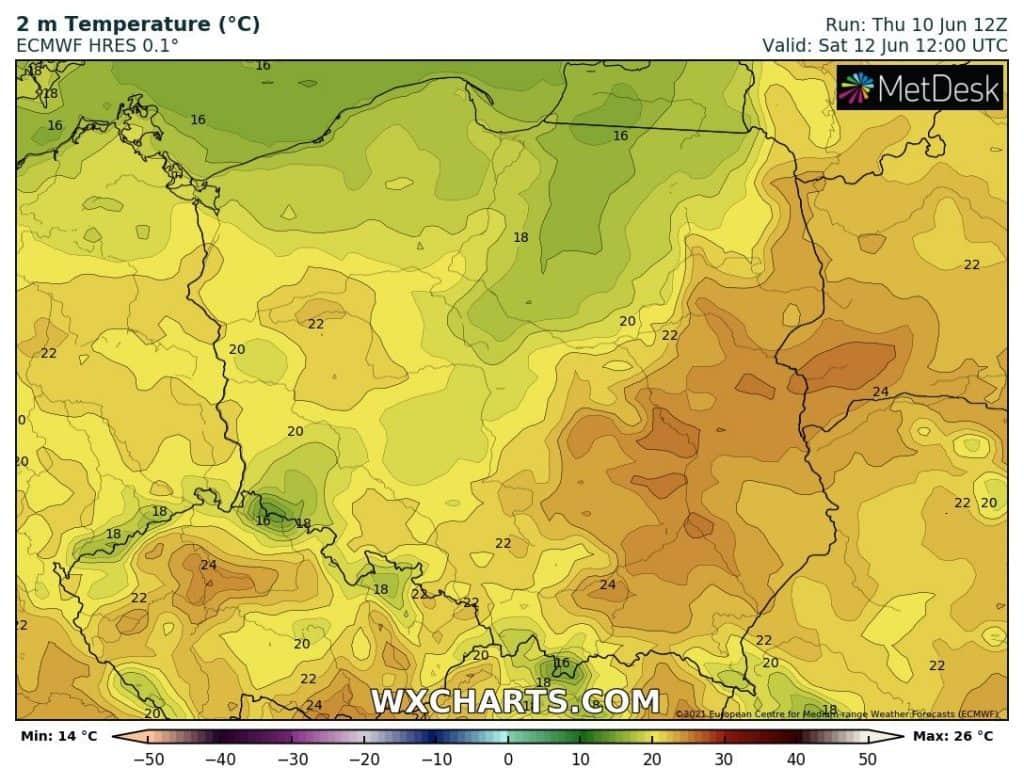 Temperatury na sobotę 12 czerwca. Pogoda w weekend