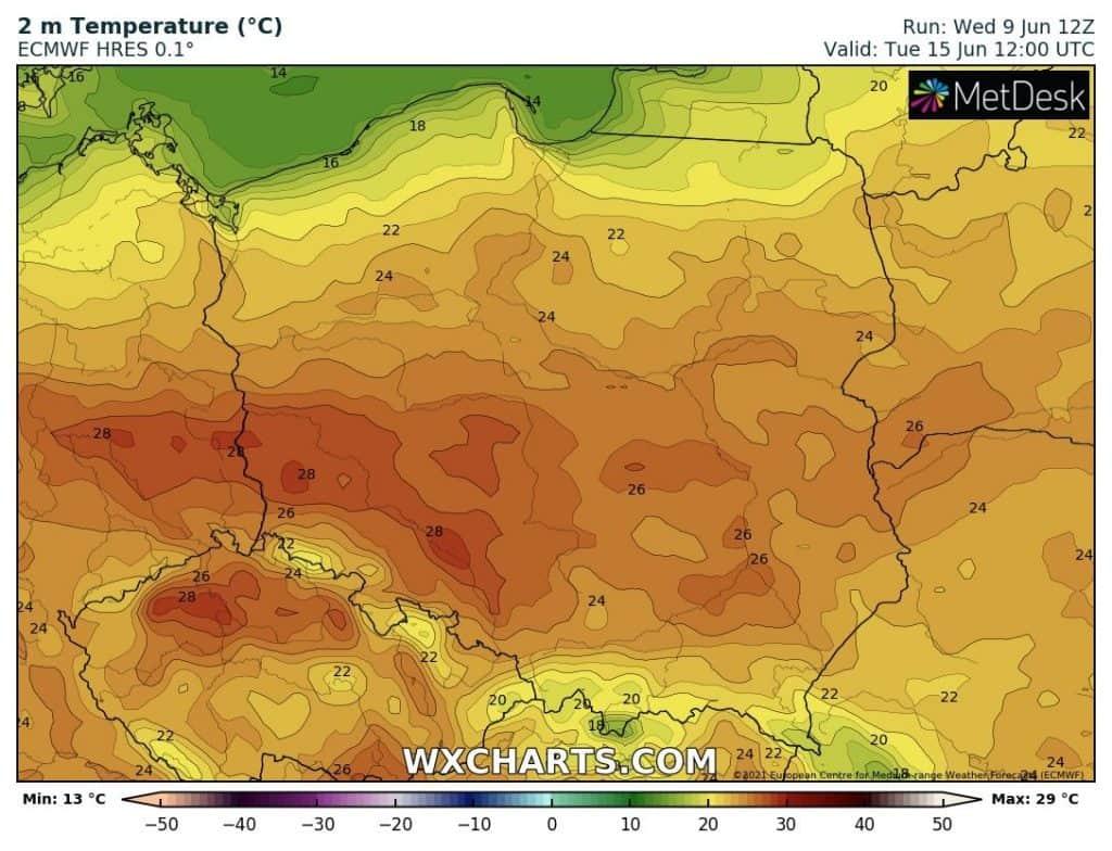 Temperatura we wtorek 15 czerwca