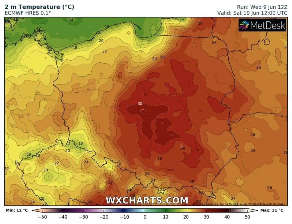W sobotę 19.06 nadal upał nad Polską