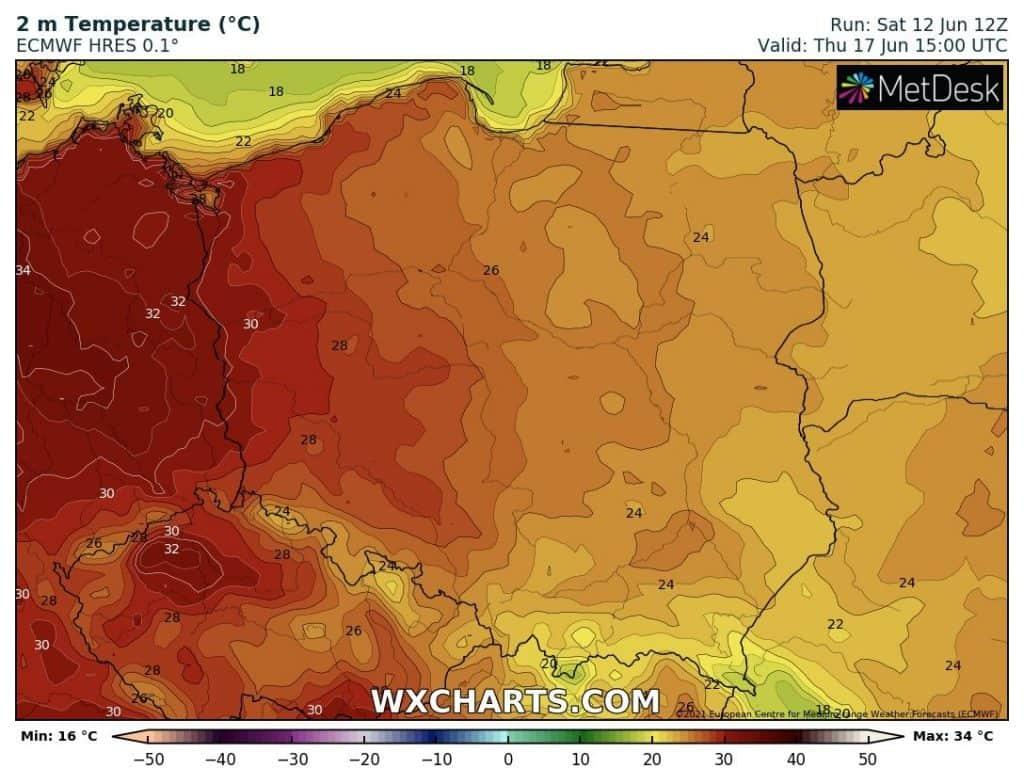 Upał w Polsce w czwartek