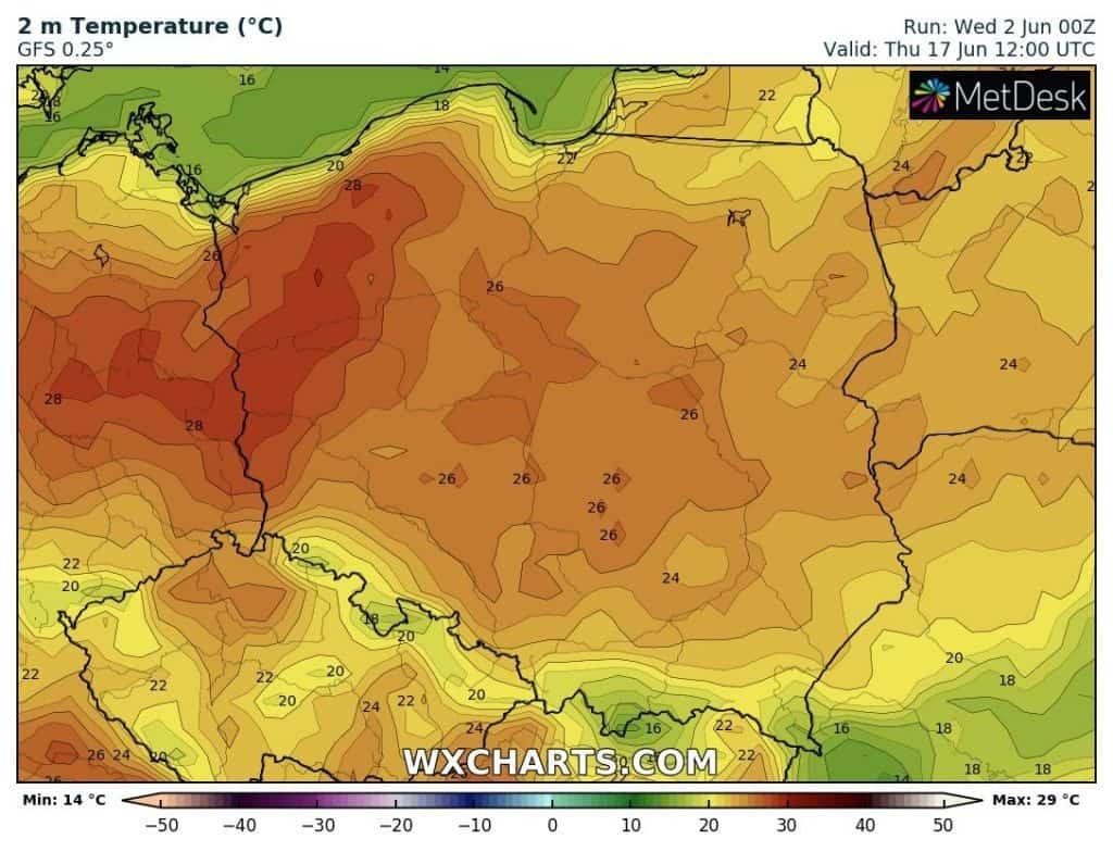 Upał w Polsce, czerwiec