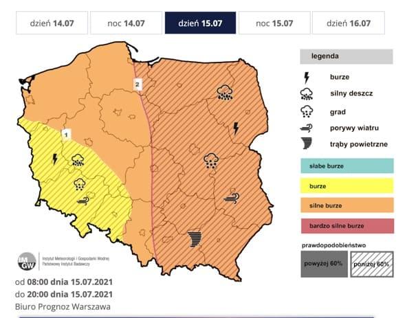 Prognoza burz na czwartek (IMGW-PIB)