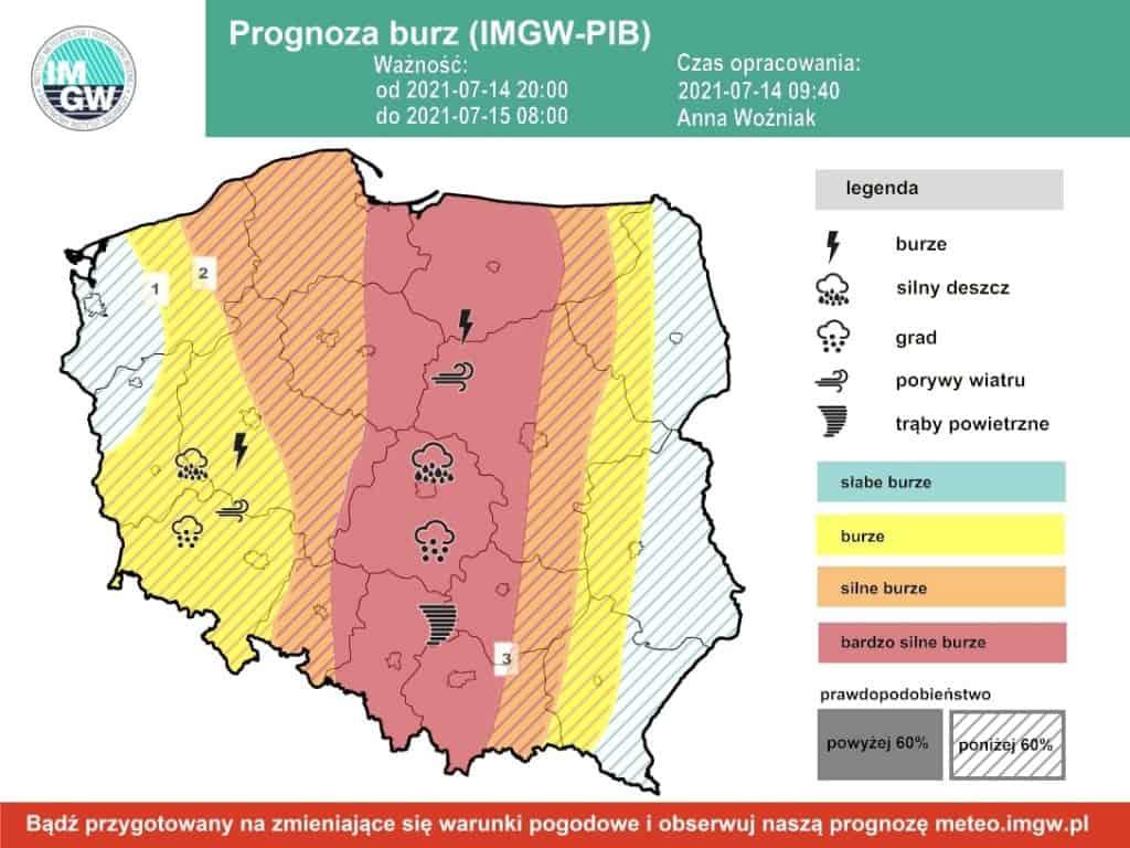 Alert burzowy na 14-15 lipca 2021. IMGW