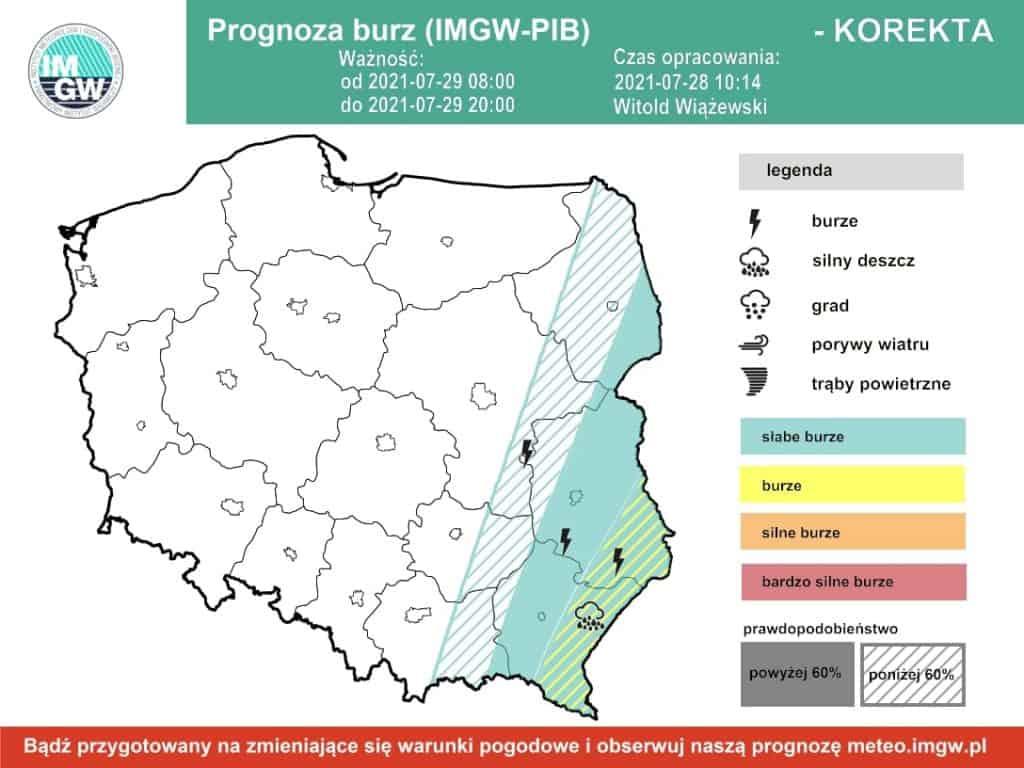 Pogoda na dziś. Burze nad Polską 29 lipca