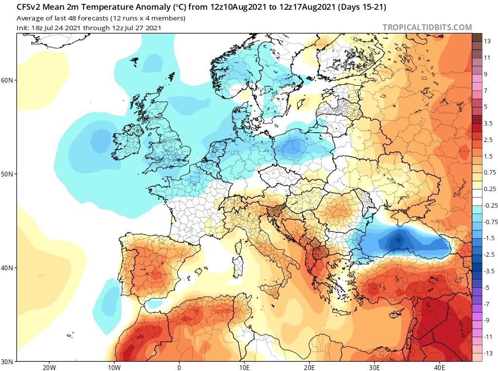 pogoda długoterminowa sierpień. anomalia na okres od 10.08.2021 do 17.08.2021