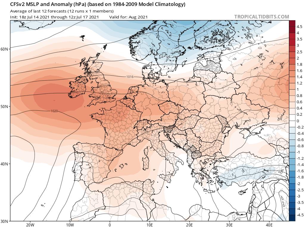Pogoda. Orientacyjna prognoza ciśnienia na sierpień 2021.