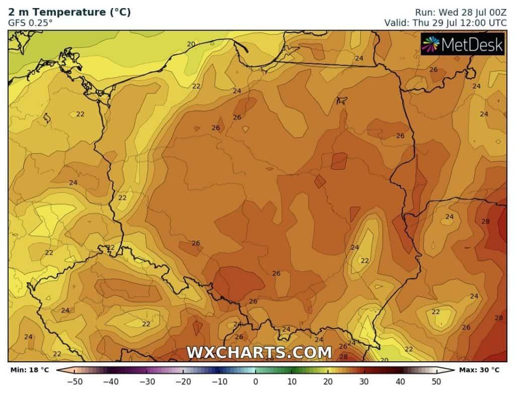 Temperatura dziś nad Polską. Czwartek 29 lipca
