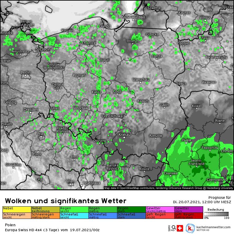 Prognoza opadów nad Polską na 20 lipca 2021