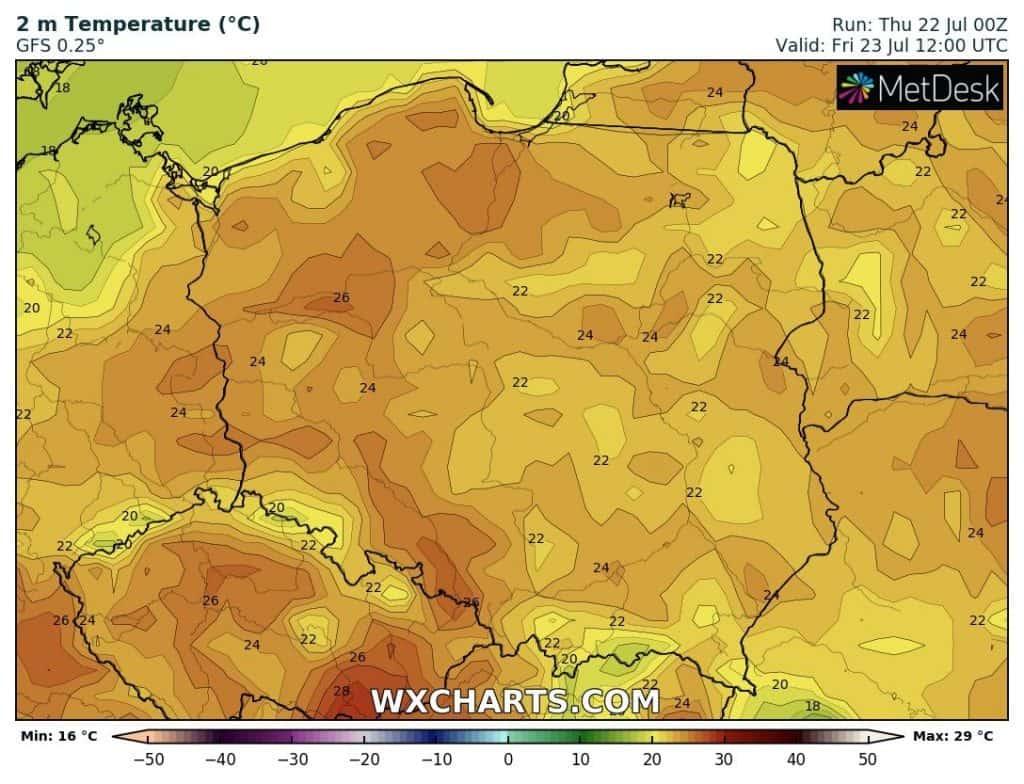 Pogoda na weekend. Temperatury nad Polską w piątek