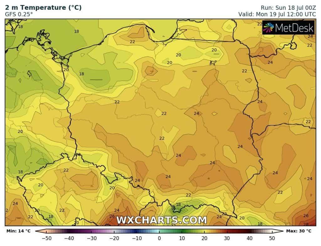 Temperatury na dziś w Polsce. Poniedziałek 19 lipca