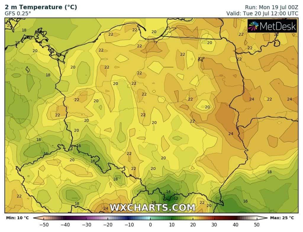Temperatura na dziś 20 lipca dla Polski