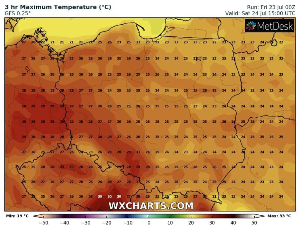 Temperatury Polska w sobotę. Pogoda na weekend