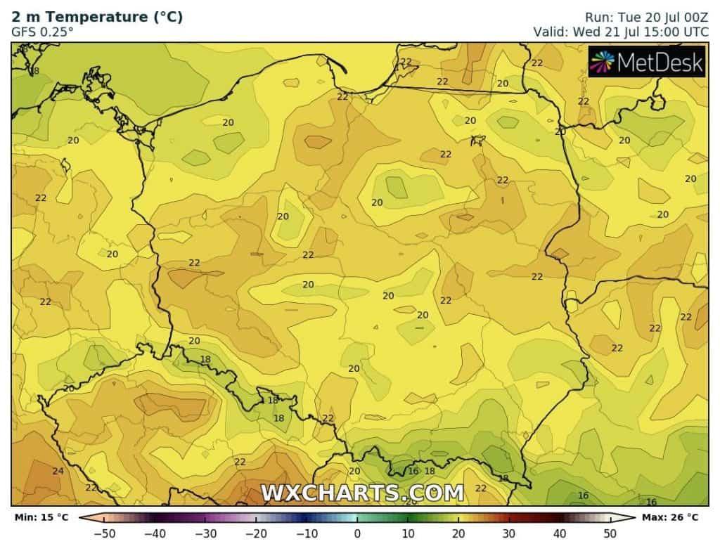 Temperatura na 20 lipca. Brak upałów w Polsce