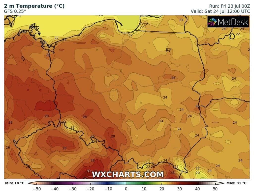 Upał już blisko Polski. W sobotę zrobi się bardzo gorąco