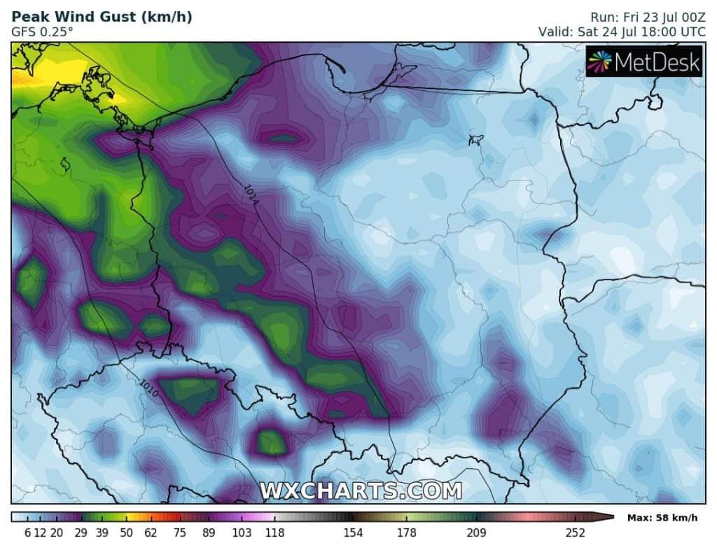 Wiatr w sobotę 24 lipca dla Polski