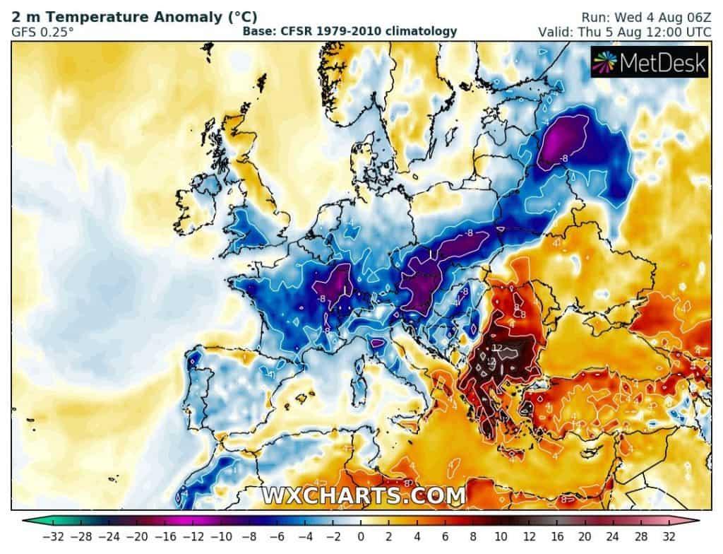 pogoda. anomalia w europie