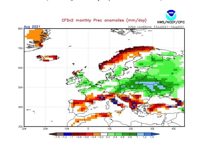 pogoda. opady w sierpniu 2021