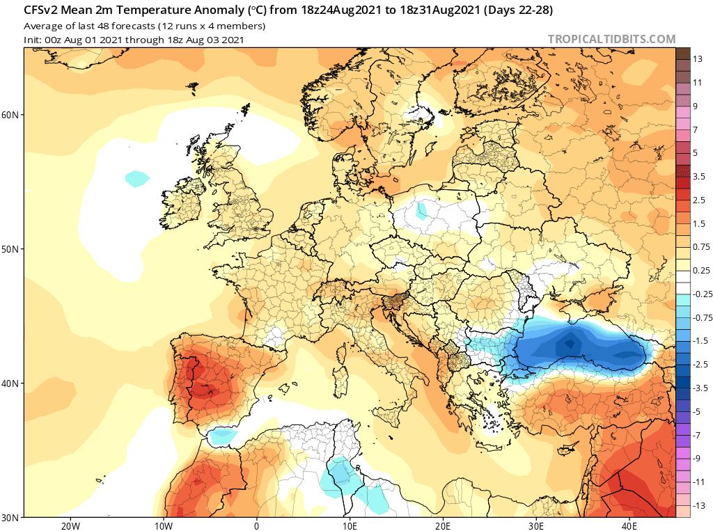 temperatura powyżej normy w sierpniu 2021
