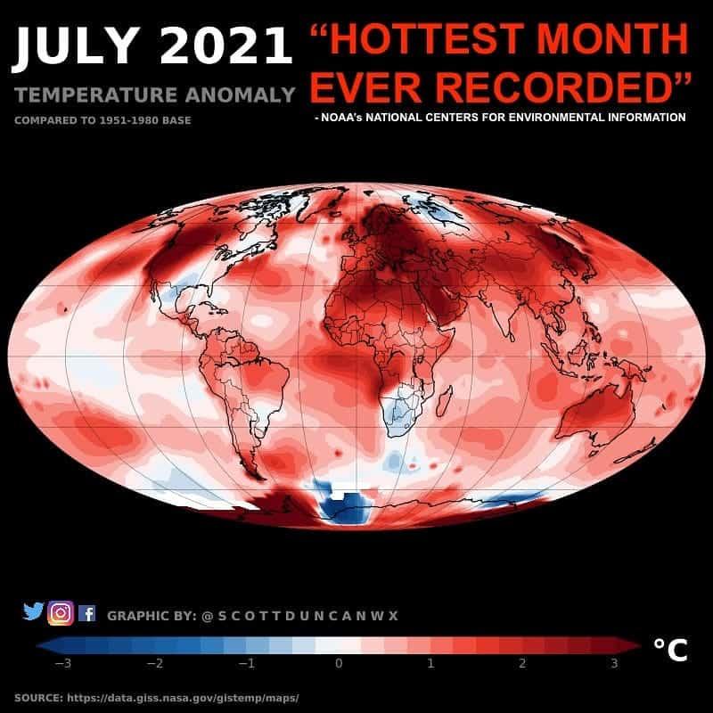 Rekordowo ciepły lipiec 2021