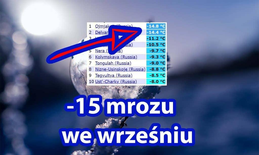 -15 stopni mrozu we wrześniu 2021