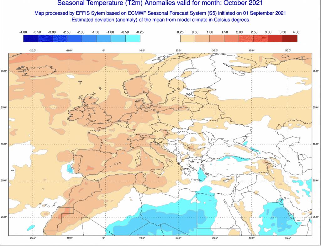 Pogoda długoterminowa na październik 2021 według ECMWF
