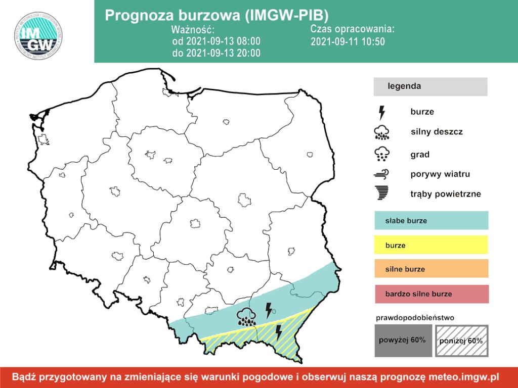 Pogoda na dziś. Burze na krańcach południowych Polski