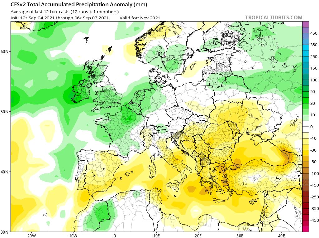pogoda. opady na listopad 2021