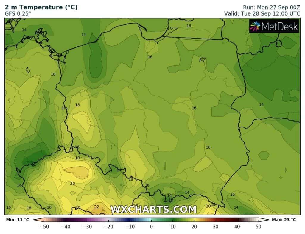Temperatura w Polsce we wtorek 28 września