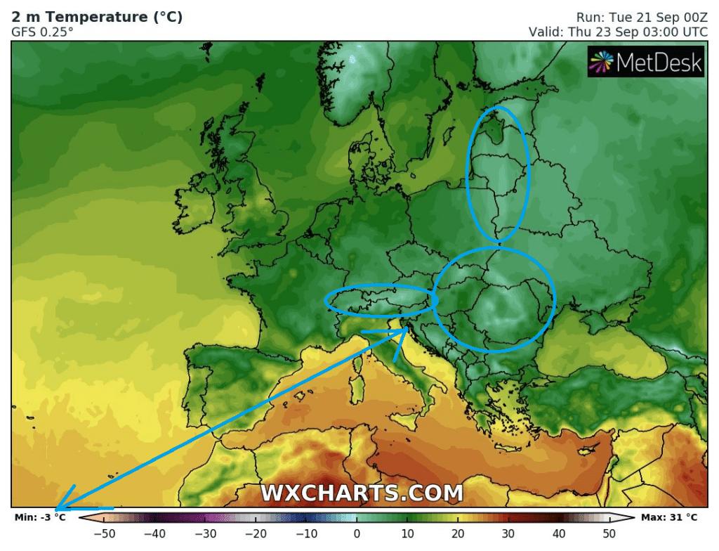 Îngheață la -3 grade în Europa