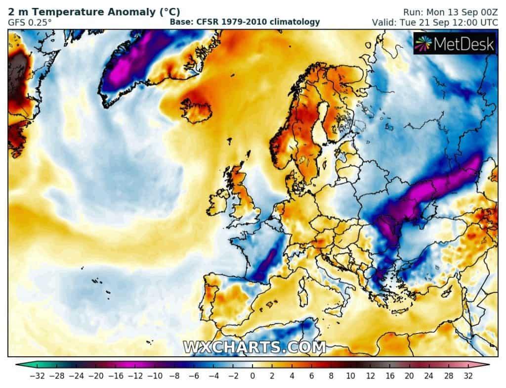 Mapa anomalii temperatury dla Europy