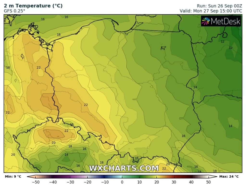 Pogoda na poniedziałek. Wysokie temperatury w Polsce
