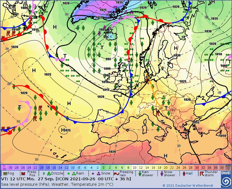 Pogoda na poniedziałek. Zbieżność wiatru blisko Polski