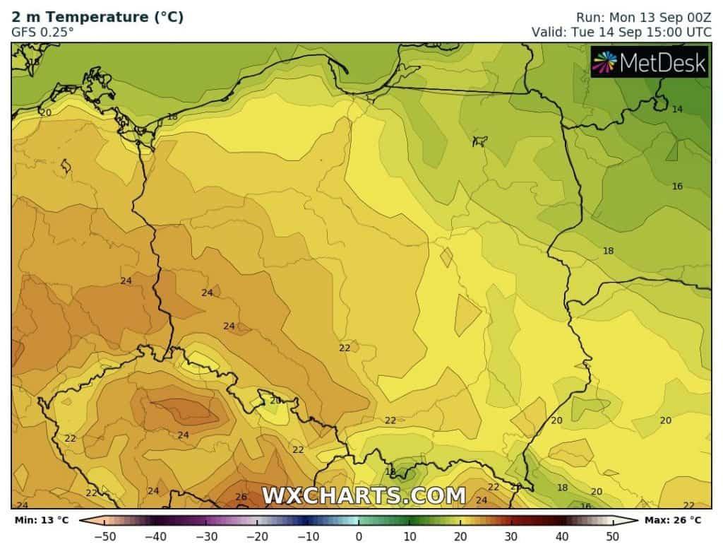 Pogoda na wtorek 14 września. Temperatury w Polsce