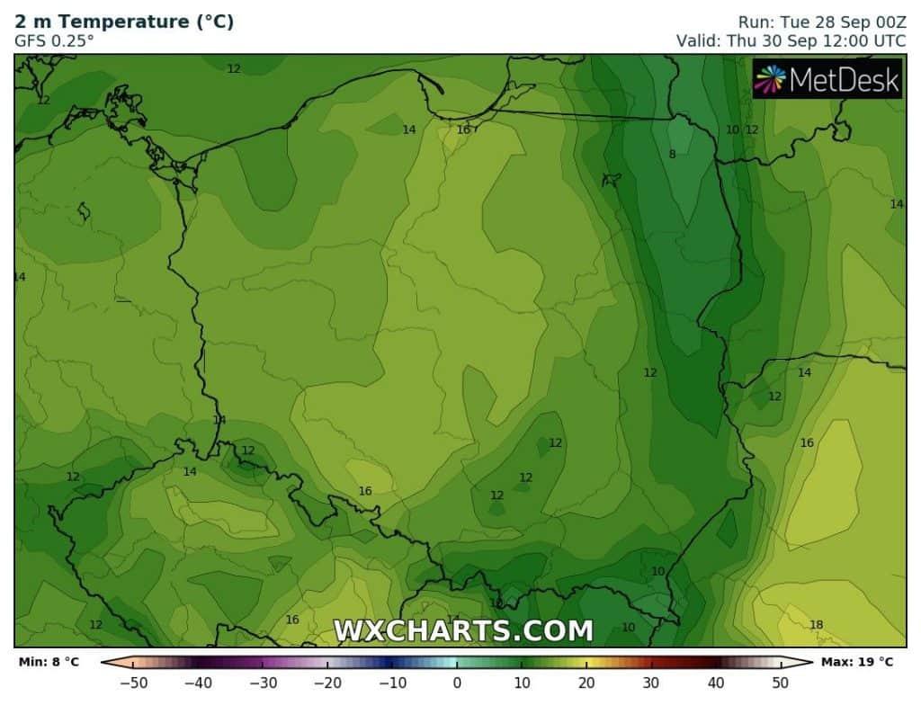Prognoza temperatury na czwartek