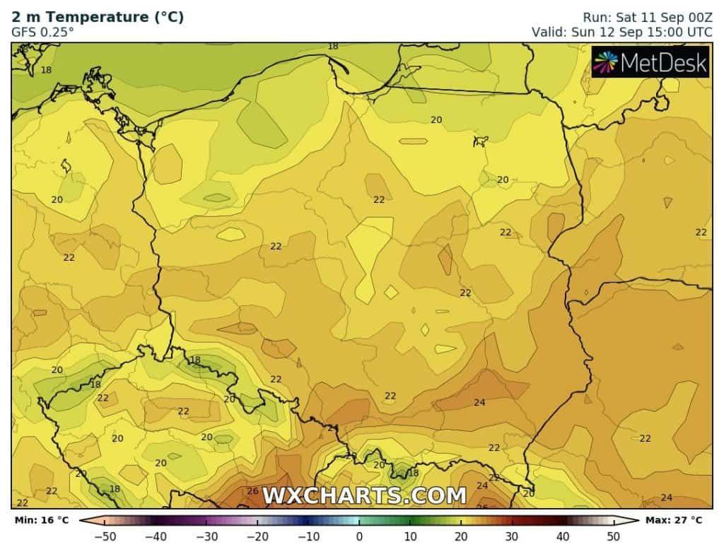 Temperatury w Polsce 12 września