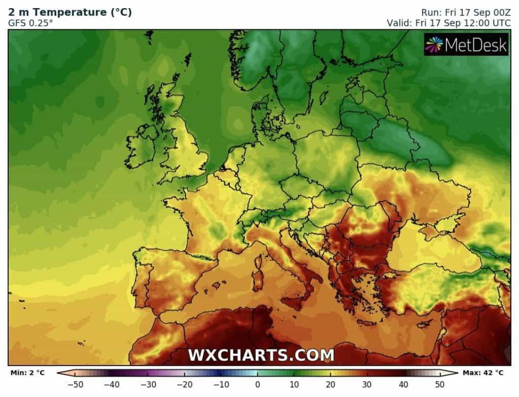 Căldură în sud-estul continentului