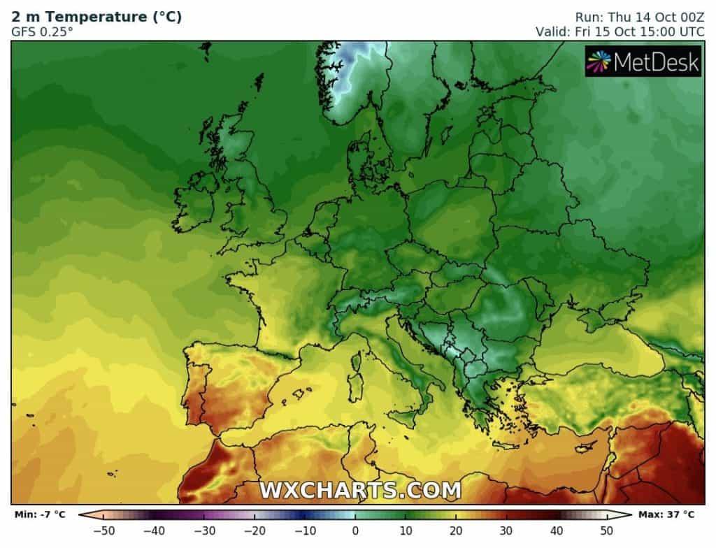 Ocieplenie już w południowo zachodniej Europie
