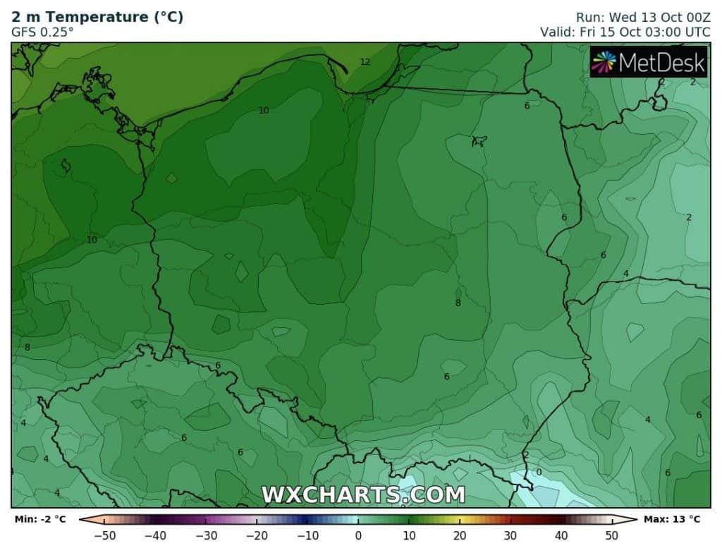 Napływ cieplejszych mas powietrza do Polski