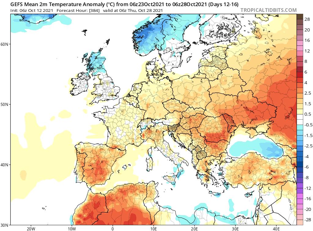 Długoterminowa pogoda. odchylenie powyżej normy wieloletniej