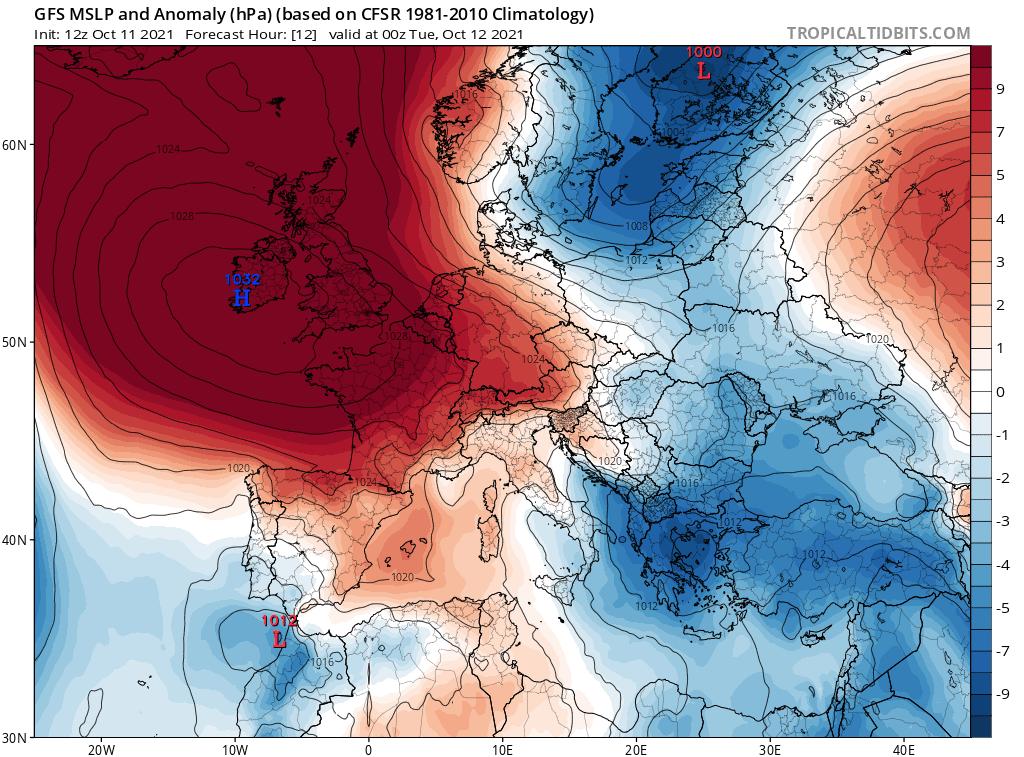 pogoda na noc. wyż nad Europą Zachodnią.